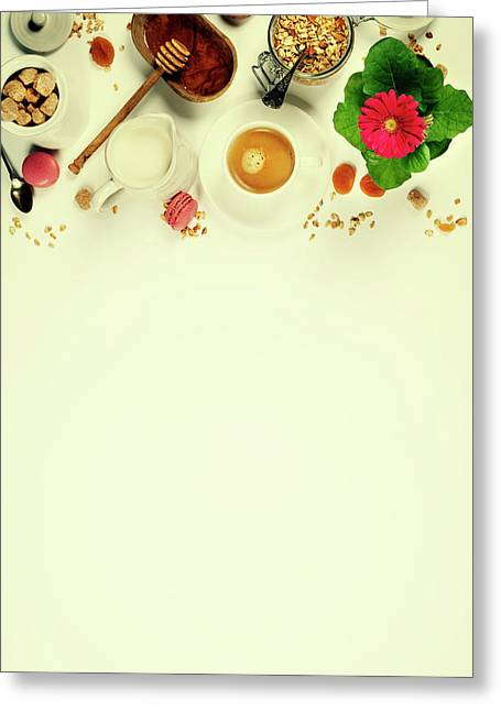 Healthy Breakfast -  Homemade Granola, Honey And Milk Greeting Card
