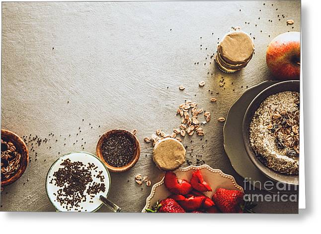 Healthy Breakfast Variety Greeting Card by Mythja Photography
