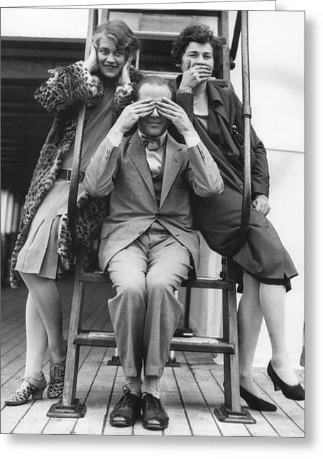 Hear, See, Speak No Evil Greeting Card by Underwood Archives