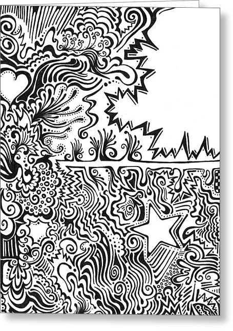 Heart And Star Abstract Greeting Card by Mandy Shupp