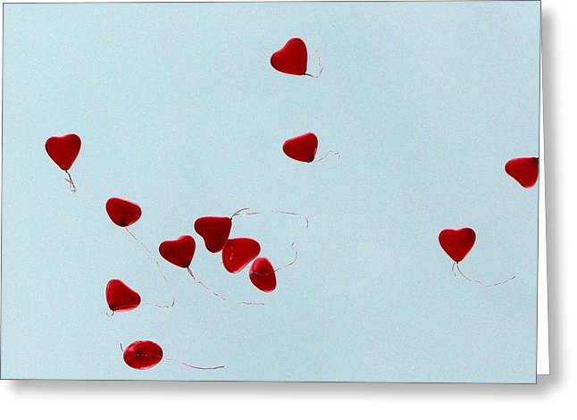 Heart Balloons In The Sky Greeting Card