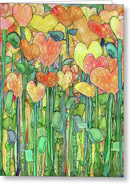 Greeting Card featuring the mixed media Heart Bloomies 1 - Golden by Carol Cavalaris