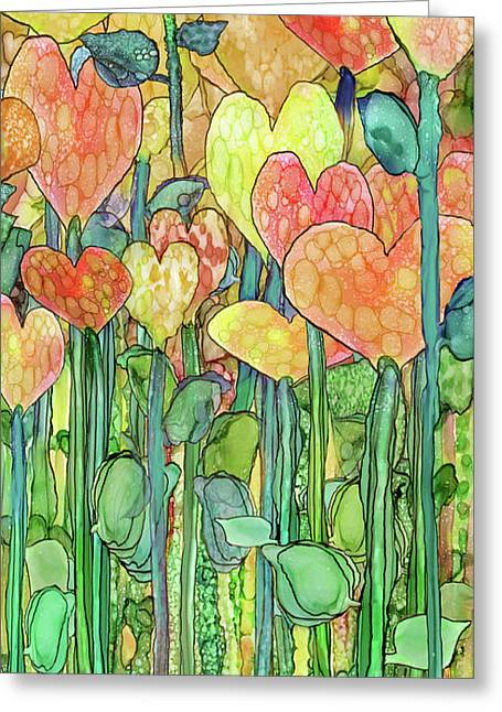Greeting Card featuring the mixed media Heart Bloomies 2 - Golden by Carol Cavalaris