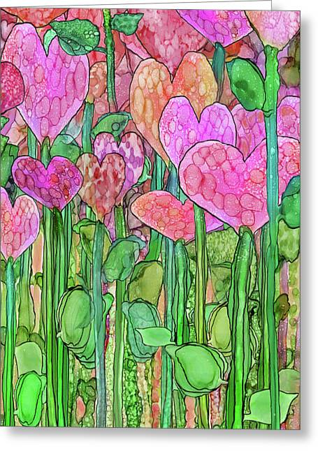 Greeting Card featuring the mixed media Heart Bloomies 2 - Pink And Red by Carol Cavalaris