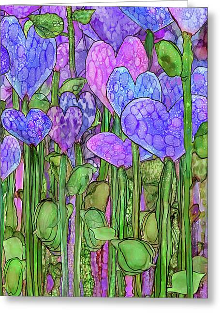 Greeting Card featuring the mixed media Heart Bloomies 2 - Purple by Carol Cavalaris