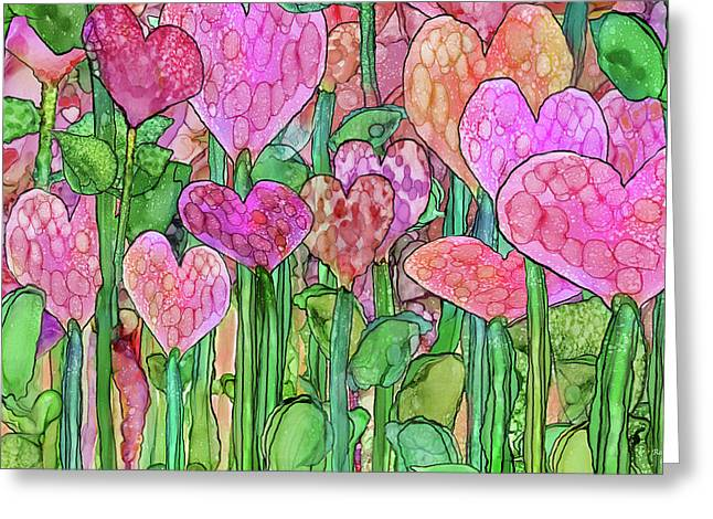Greeting Card featuring the mixed media Heart Bloomies 3 - Pink And Red by Carol Cavalaris