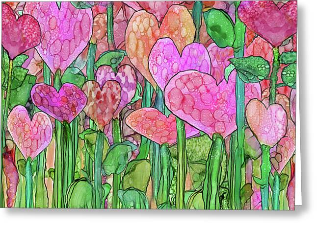 Greeting Card featuring the mixed media Heart Bloomies 4 - Pink And Red by Carol Cavalaris