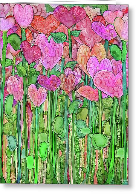 Greeting Card featuring the mixed media Heart Bloomies 1 - Pink And Red by Carol Cavalaris