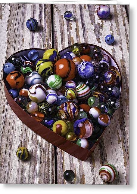 Heart Box With Marbles Greeting Card by Garry Gay