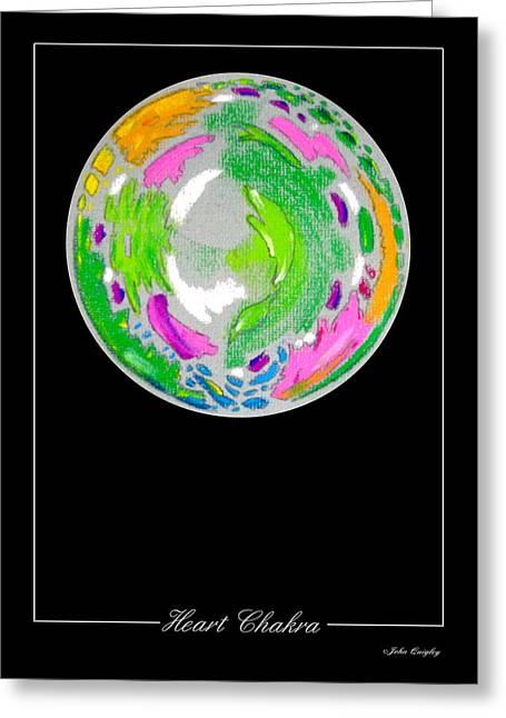 Mandalas Pastels Greeting Cards - Heart Chakra Greeting Card by John Quigley