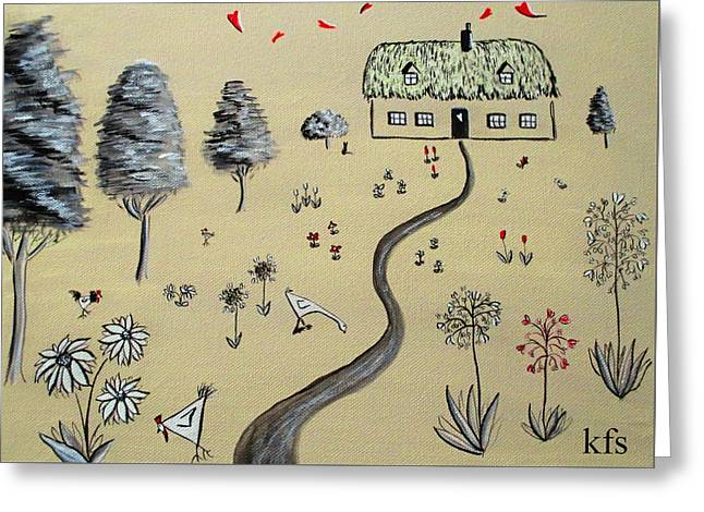 Heart Cottage Red 1  Greeting Card by Kathy Spall