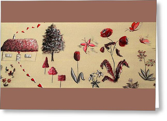 Heart Cottage Red 3 Greeting Card by Kathy Spall