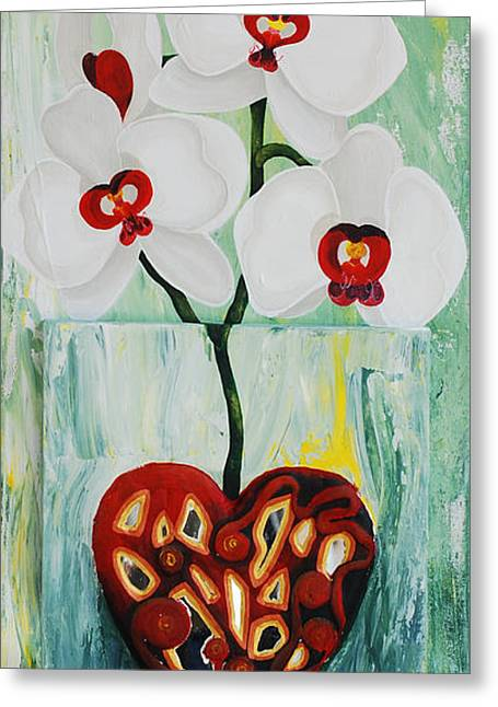 Heart In Bloom Greeting Card by Catt Kyriacou