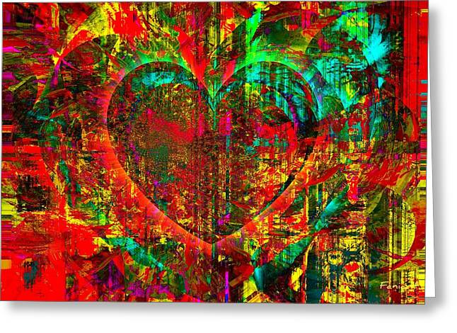 Greeting Card featuring the mixed media Heart In Flame by Fania Simon