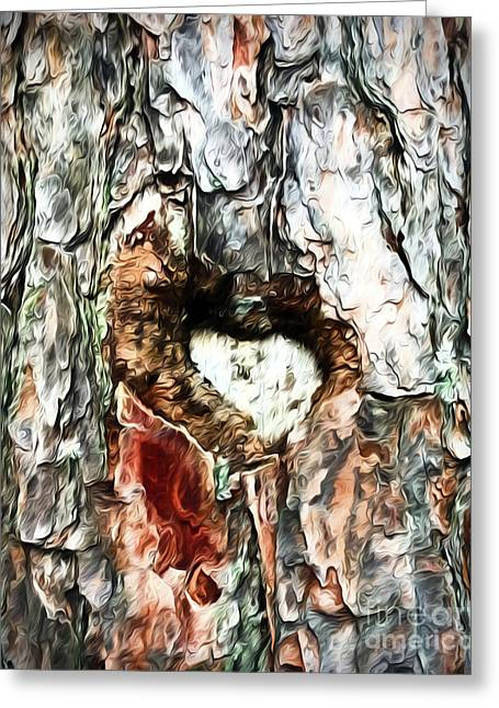 Greeting Card featuring the photograph Heart In The Tree by Kerri Farley