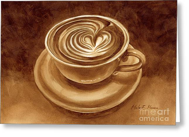 Greeting Card featuring the painting Heart Latte by Hailey E Herrera