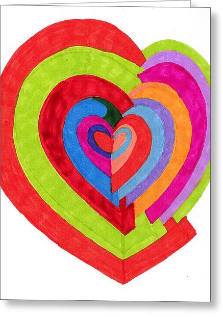 Heart Maze Greeting Card by Brenda Adams