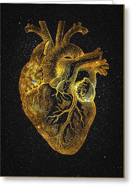 Greeting Card featuring the digital art Heart Nebula by Taylan Apukovska