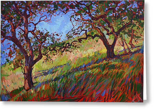 California Hills Greeting Cards - Heart Oaks Greeting Card by Erin Hanson