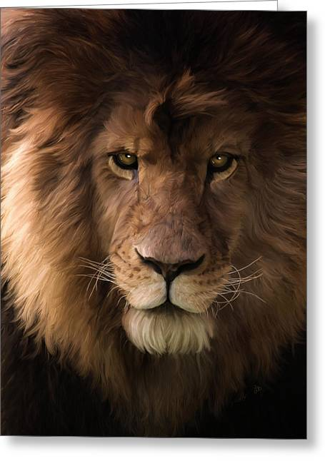 Greeting Card featuring the painting Heart Of A Lion - Wildlife Art by Jordan Blackstone