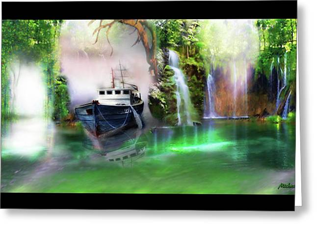 Greeting Card featuring the digital art Heart Of Darkness by Michael Cleere
