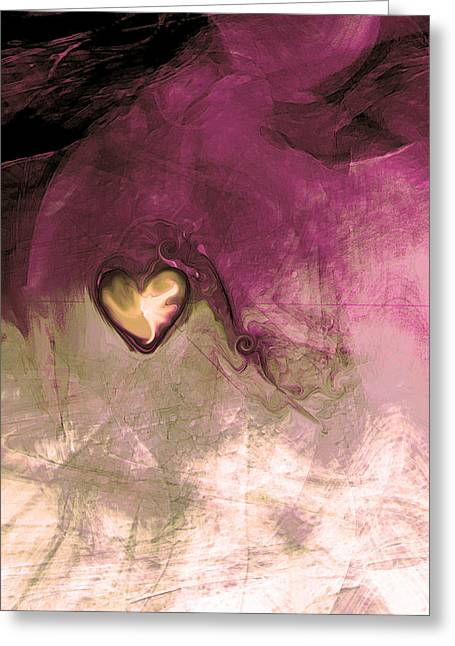 Abstract Digital Art Greeting Cards - Heart Of Gold Greeting Card by Linda Sannuti