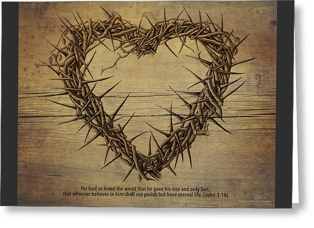 Heart Of Thorns On Wood Greeting Card by Vicki Zimmerly Carson