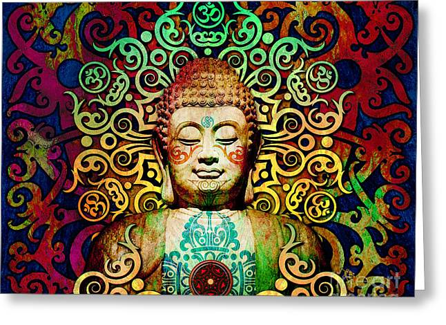 Heart Of Transcendence - Colorful Tribal Buddha Greeting Card