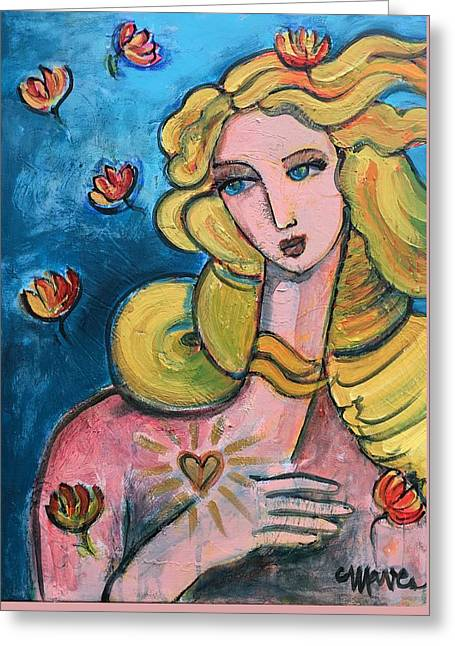 Greeting Card featuring the painting Heart Of Venus by Laurie Maves ART