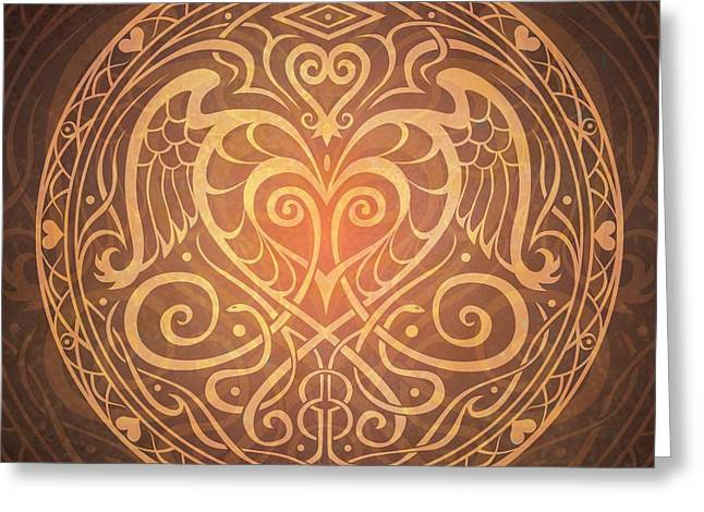 Abstract Spiritual Art Greeting Cards - Heart of Wisdom Mandala Greeting Card by Cristina McAllister