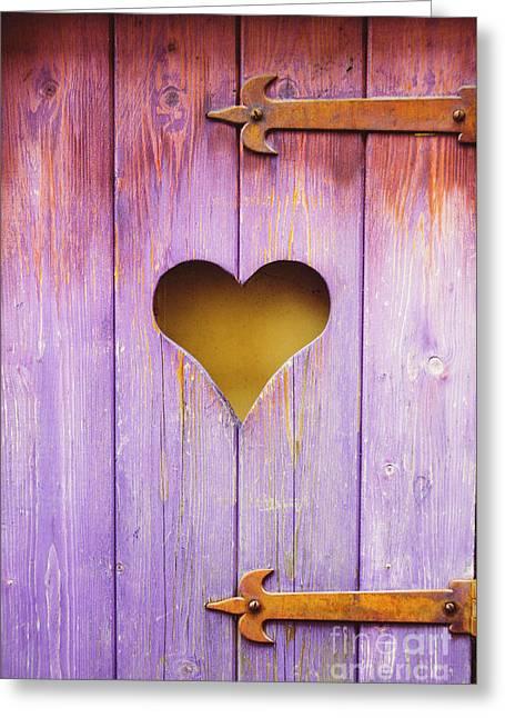 Heart On A Wooden Window Greeting Card by Bernard Jaubert