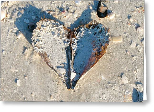 Greeting Card featuring the photograph Heart On The Beach by Mike Evangelist