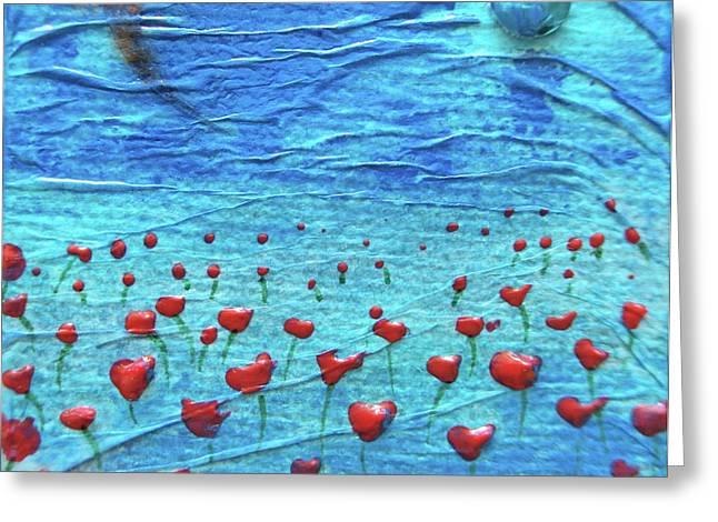 Heart Poppies Greeting Card by Shawna Scarpitti