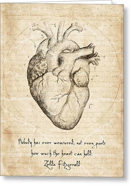 Heart Quote By Zelda Fitzgerald Greeting Card by Taylan Apukovska