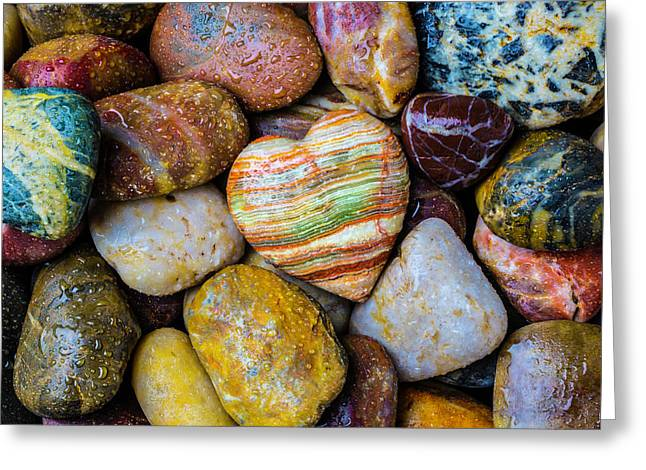 Heart Rock With River Stones Greeting Card by Garry Gay