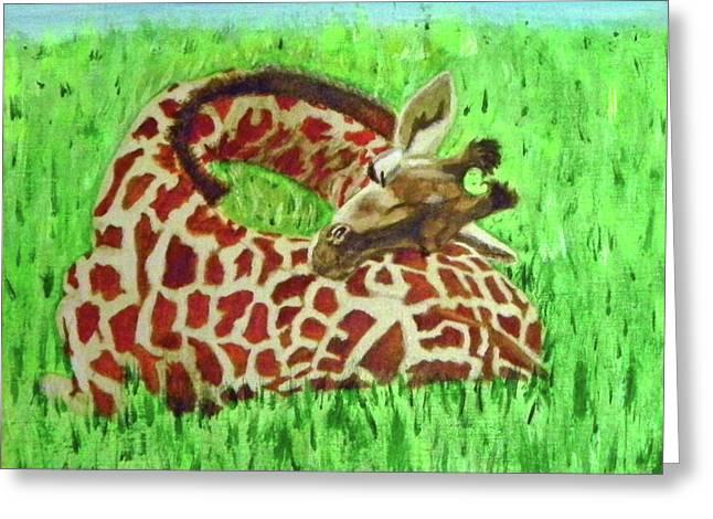 Heart Serenity - Sleeping Baby Giraffe Greeting Card by M Gilroy