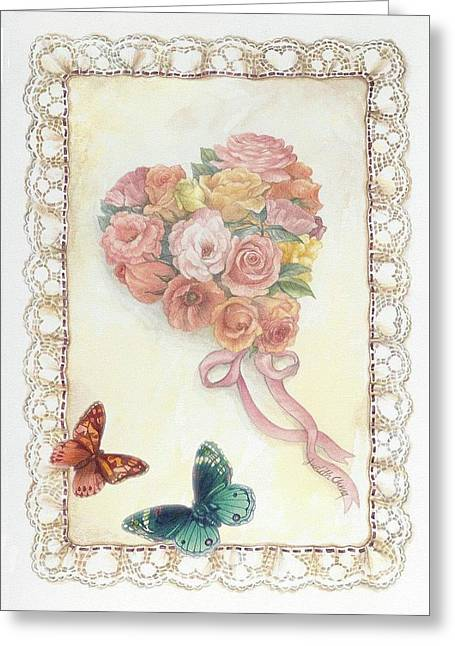 Heart Shape Bouquet With Butterfly Greeting Card