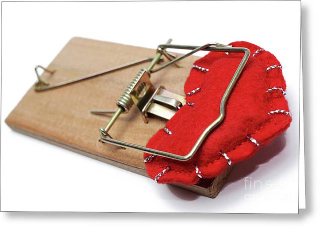 Heart-shape Trapped In Mouse Trap Greeting Card