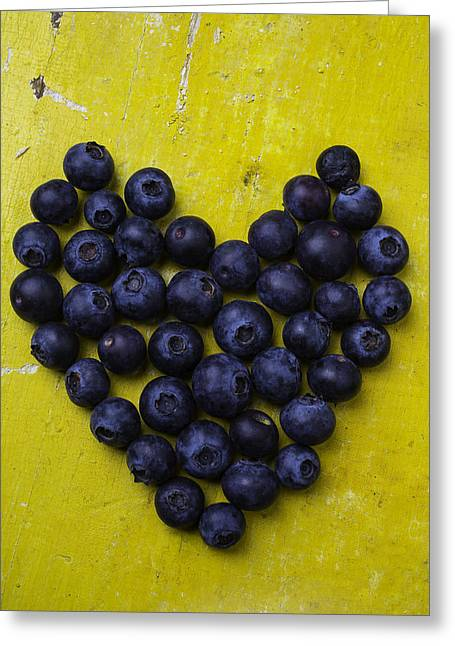 Heart Shaped Blueberries Greeting Card by Garry Gay
