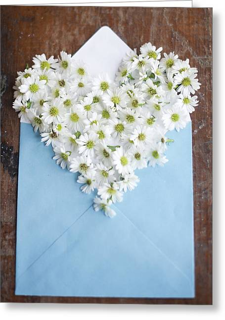 Heart Shaped Daisies In Blue Envelope Greeting Card