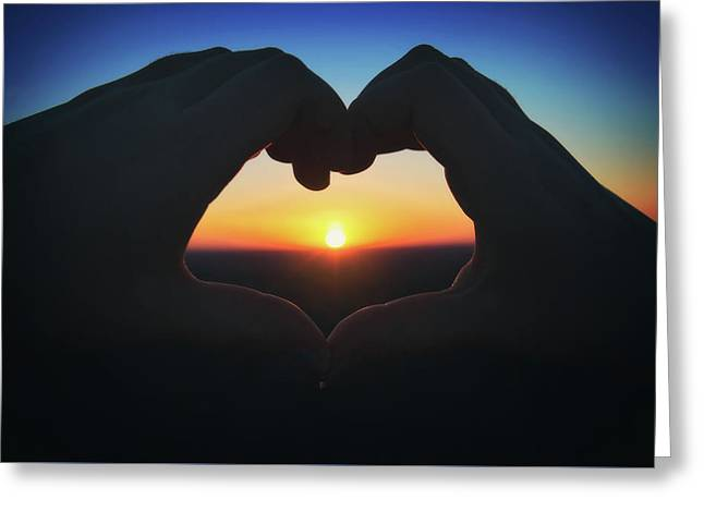 Heart Shaped Hand Silhouette - Sunset At Lapham Peak - Wisconsin Greeting Card by Jennifer Rondinelli Reilly - Fine Art Photography