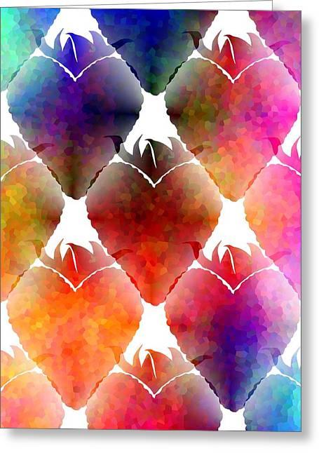 Heart Shaped Strawberry Greeting Card by Kathleen Sartoris