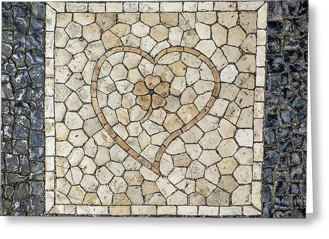 Heart Shaped Traditional Portuguese Pavement Greeting Card