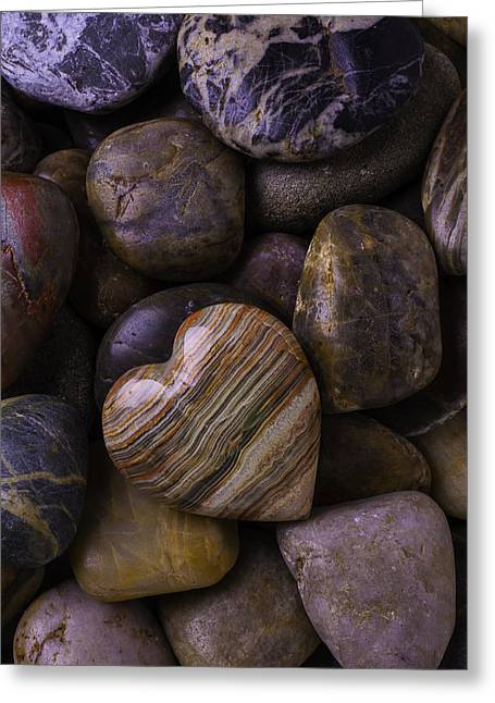 Heart Stone On River Rocks Greeting Card by Garry Gay