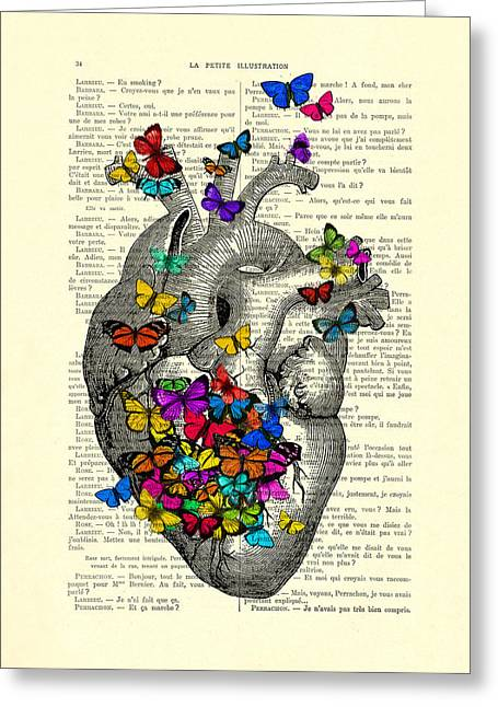 Heart With Rainbow Butterflies Greeting Card by Madame Memento