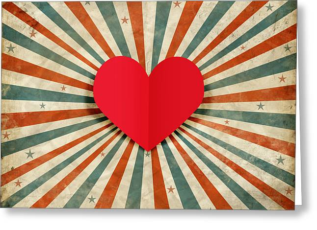 Old Postcards Greeting Cards - Heart With Ray Background Greeting Card by Setsiri Silapasuwanchai