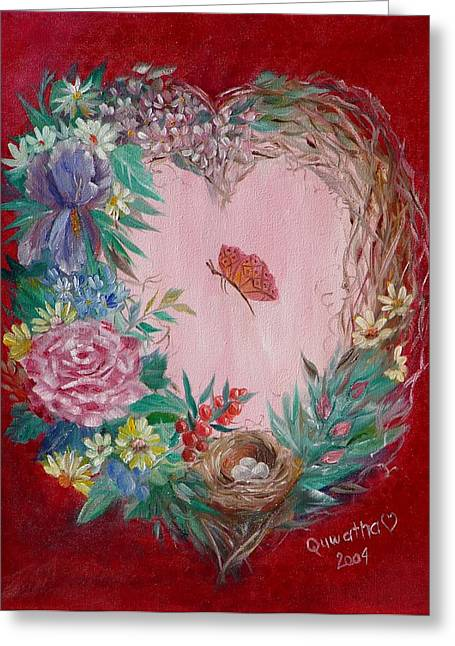 Greeting Card featuring the painting Heart Wreath by Quwatha Valentine