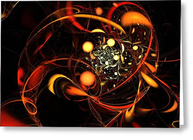 Abstract Art Prints Digital Art Greeting Cards - Heartbeat Greeting Card by Oni H