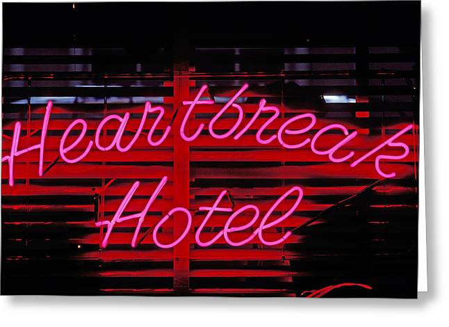Concept Photographs Greeting Cards - Heartbreak hotel neon Greeting Card by Garry Gay