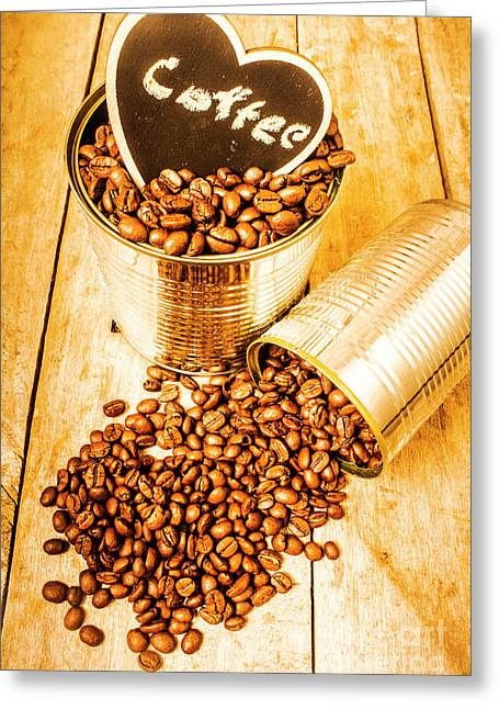 Hearts And Cafe Beans Greeting Card